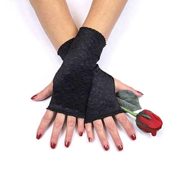 SteamPunk Cosplay Black Ruffled Lace Fingerless Gloves NEW UNWORN
