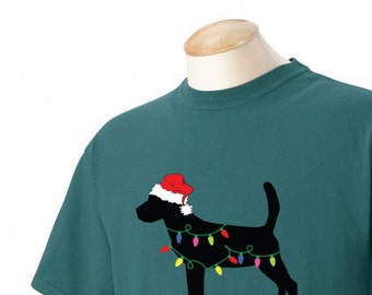 Christmas Beagle Garment Dyed Cotton T-shirt