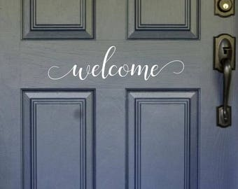 Welcome Door Decal, Modern Door Decal, Door Sticker, Vinyl Door Decal, Welcome Decal, Modern Welcome Decal, Welcome Decal, Welcome Sticker
