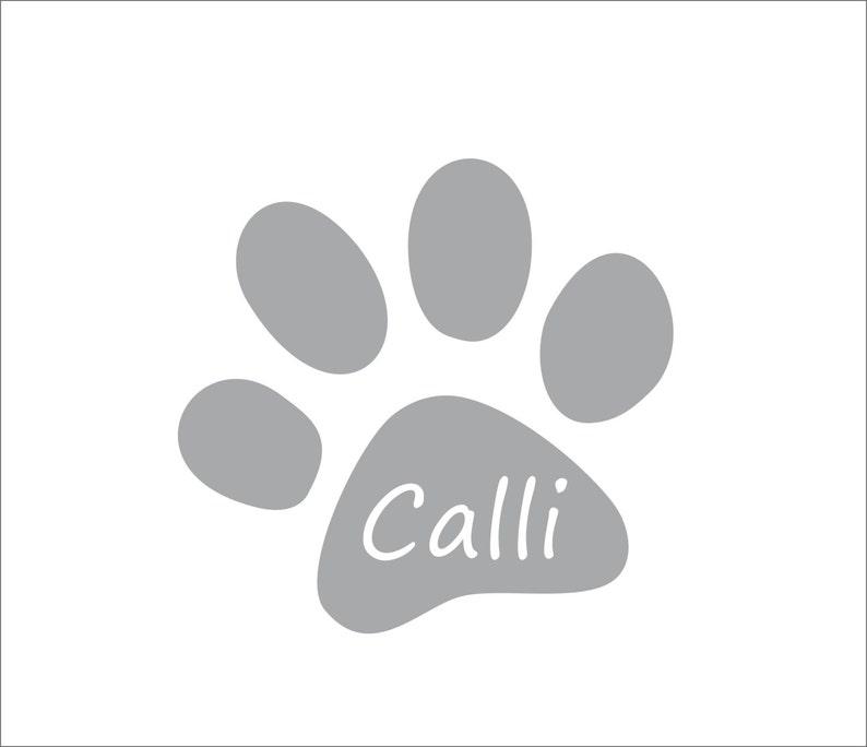 Cat Paw Decal Pet Dish Sticker Pet Memorial Decal Pet Name Decal Personalized Cat Paw Decal