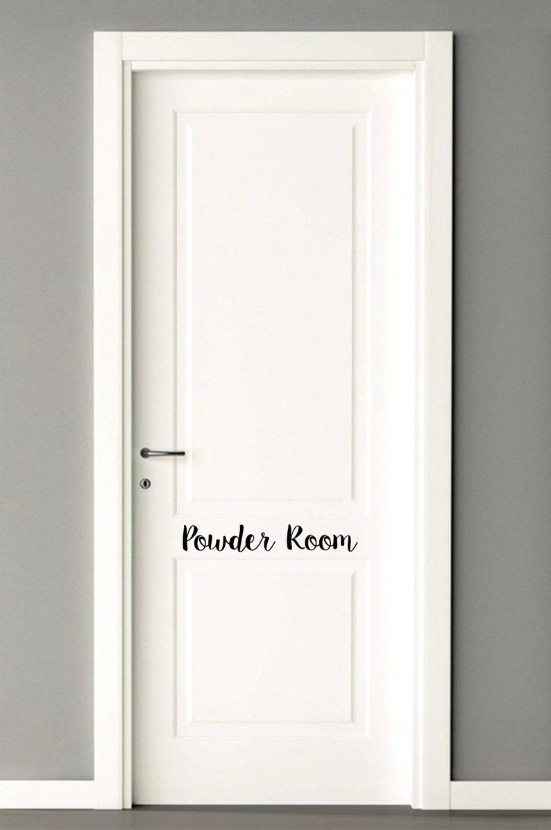Powder room decal bathroom door decal powder room door etsy