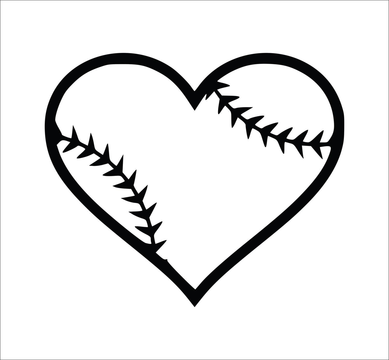 Baseball Heart Decal Softball Heart Decal Laptop Decals | Etsy