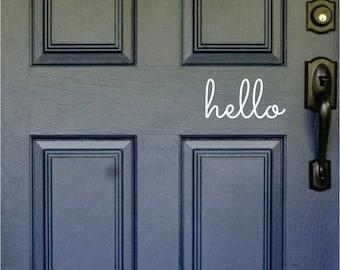 hello, Front Door Decal, Door Sticker, Hello Door Decal, Teen Door Decal, Hello Front Door Decal, Housewarming Gift, House Warming Gift
