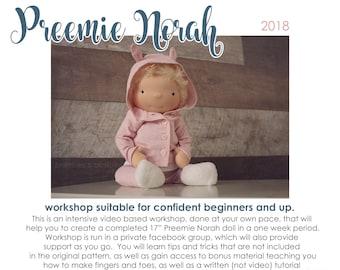 WORKSHOP - Video tutorial workshop for Preemie Norah, WITH PATTERN