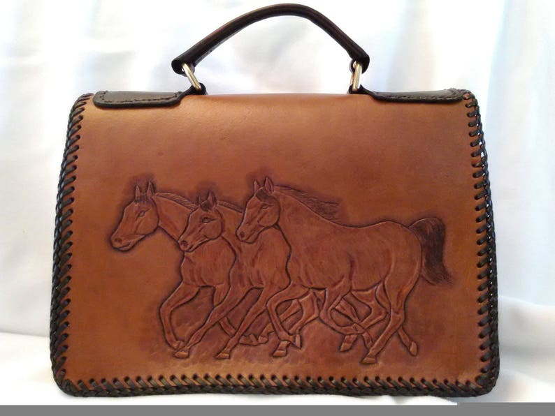 9f66694efc5 Leather Bible Case in Running Horses Scene and Hair on Calfskin