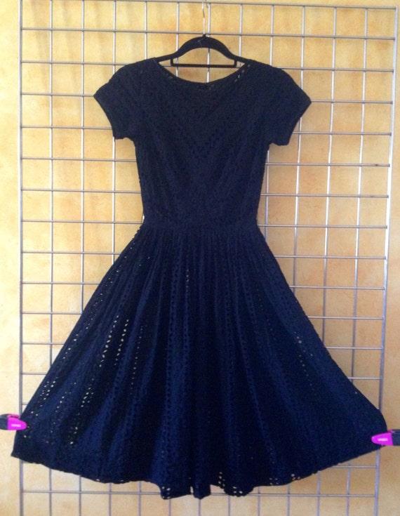 Vintage 60s Audrey Hepburn Black EYELET Dress Size