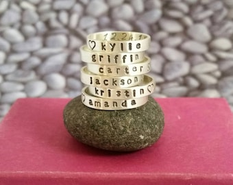 Stacking Name Ring with Birth Date in Sterling Silver, Mother's ring, Custom name ring, Stackable name ring, Personalized Stacking Ring