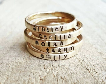 Stacking Skinny Name Ring in Hammered 14K gold, Gold Stacking Name ring, Gold name ring, Custom Stackable Name Ring, Personalized Name Ring