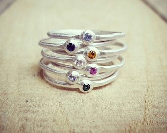 Stacking Birthstone Ring in Sterling Silver, Mother's rings, Skinny Birthstone rings, Stackable Birthstone Rings, Tiny Birthstone Rings
