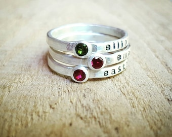 Stacking Birthstone and Name Ring, Birthstone ring with name,  Mothers Ring, Stacking birthstone rings, Stackable name rings with birthstone