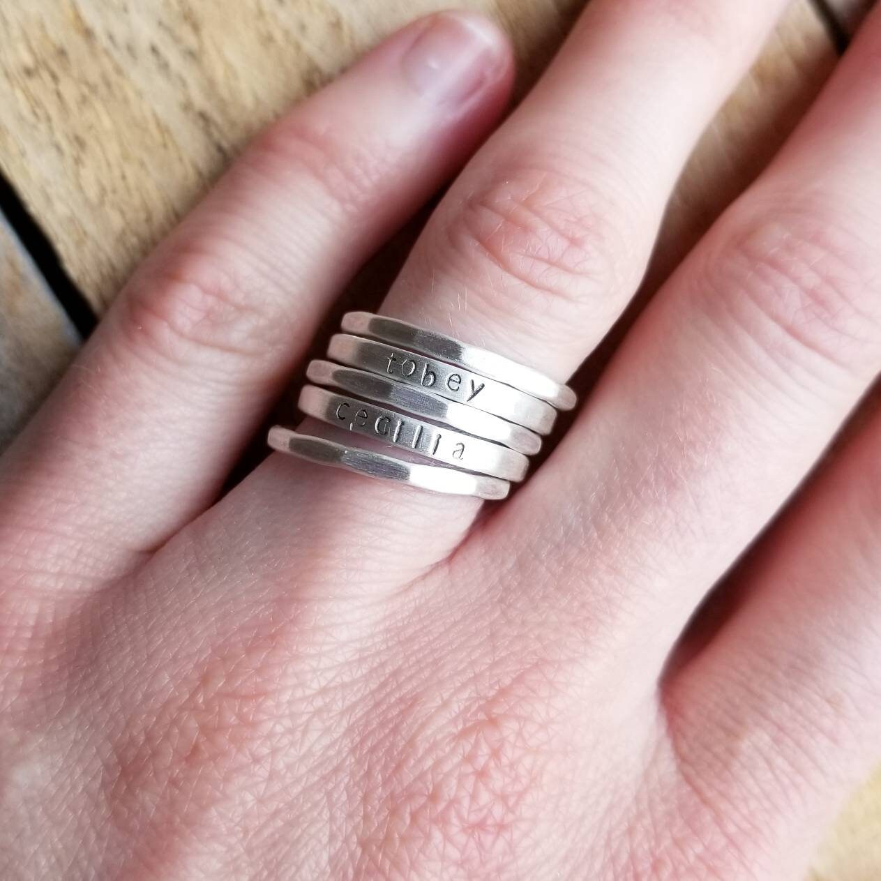 Stackable Skinny Name Ring in Sterling Silver Stacking name | Etsy