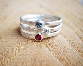 Stackable Birthstone Rings in Sterling Silver, Set of three Stacking birthstone rings, Mothers Ring set, Hammered birthstone rings