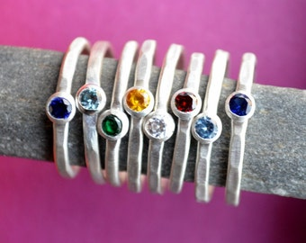 Stacking Birthstone Ring in Sterling Silver, Mothers Ring, Hammered birthstone rings, Stackable Birthstone rings, Gift for Mother