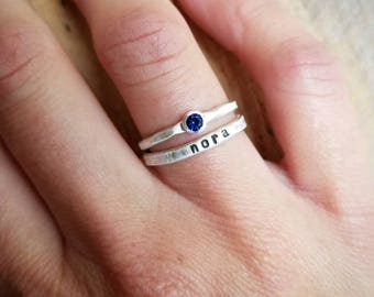 Birthstone and Name Ring Stacking Set in Sterling Silver, Stacking name and birthstone rings, Mother's Ring Set