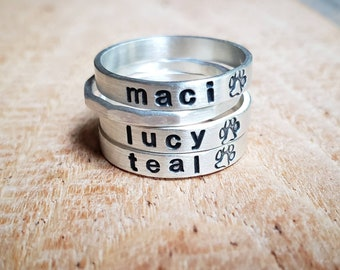 Personalized Dog Name Ring in Sterling Silver, Paw print ring, Pet Memorial gift
