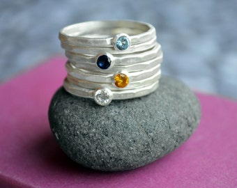 Stackable Birthstone Ring in Sterling Silver, Stacking birthstone rings, Mothers Ring, Gift for Mother, Personalized Stacking Birthsto Rings