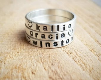 Personalized Stacking Name Ring Set of three in Sterling Silver, Custom Name Rings, Stackable Name Rings, Gift for Mother
