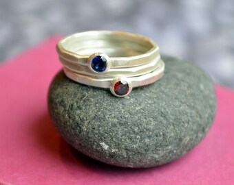 Stacking Birthstone Ring Set of three in Hammered Sterling Silver, Stackable Birthstone Rings, Stacking Birthstone Rings