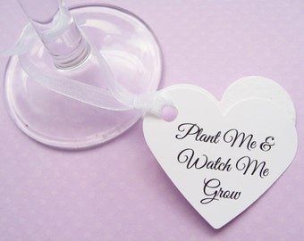40 Personalised Flower Seed Heart Favours - Custom Tags - Wedding, Favour, Table Decor, Wishing Tree