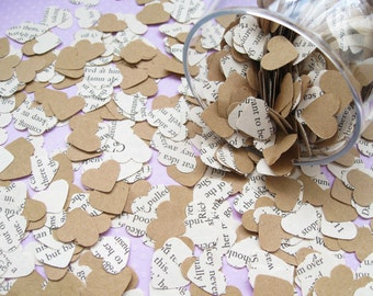 2000 Heart Novel Kraft Confetti Mix - 22 choices include Alice in Wonderland, Great Gatsby, Harry Potter, Roald Dahl, Jane Austen and more
