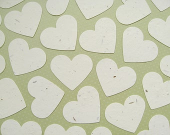 10 x 2 inch Cream Plantable Wildflower Seed Hearts - Flower Seed Confetti - Wedding, Favours, Table Decor