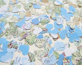 World Map Atlas Confetti Hearts - Choose from amounts of 200 to 2000 - Wedding Travel  Decor
