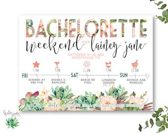 Bachelorette Party Itinerary Invitation