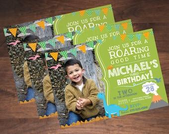Printable Dino Birthday Party Invitation with Photo