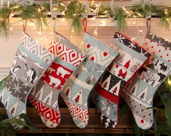 Quilted Christmas Stockings Set Family Personalized, 6 Stockings Penguin, Polar Bear, Deer, Gnome, Bear, Nordic, White, Red, Light Blue