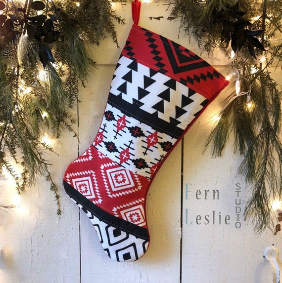 Rustic Southwest Handmade Blue Geometric Modern Country Turquoise Christmas Stocking Quilted Personalized Tribal Holiday Aztec Stockings