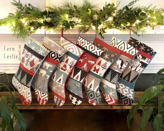 Traditional Nordic Quilted Stocking Handmade Holiday Stockings Blue Spruce Red Gray Black Personalized Christmas Stockings Family Set of 7