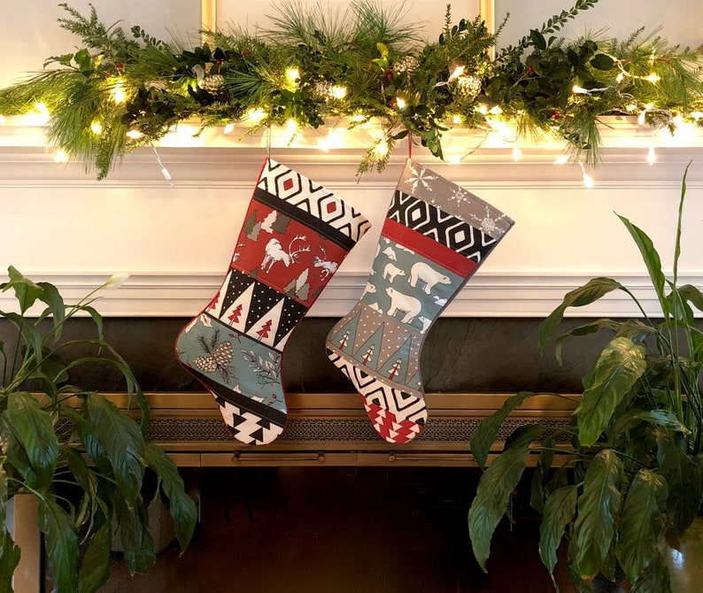 Red White Country Christmas Stockings Blue Spruce Cat Christmas Stocking Quilted Personalized Handmade Family Holiday Decor