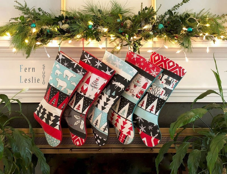 Family Christmas Stockings Set Of 5 Personalized Quilted Stocking Country Nordic Polar Bear Woodland Gnomes Deer Black Red Turquoise