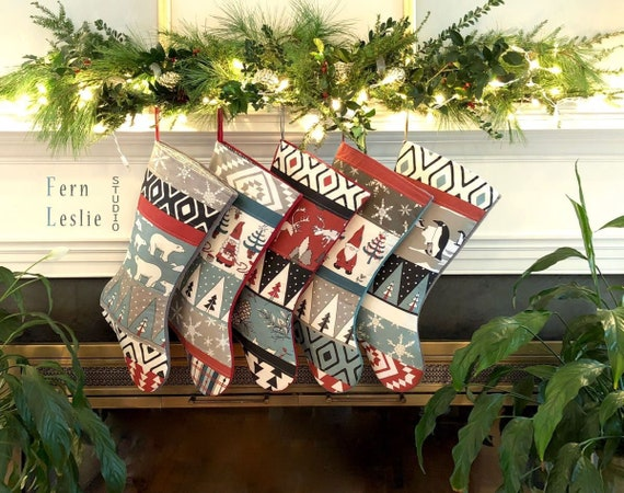 e4026f97f Family Christmas Stocking Set of 5 Farmhouse Personalized
