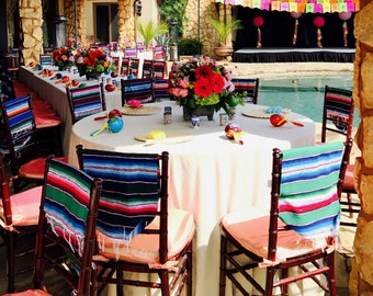Mexican Colorful Serapes Runner For Chair Cover Decor Party Etsy