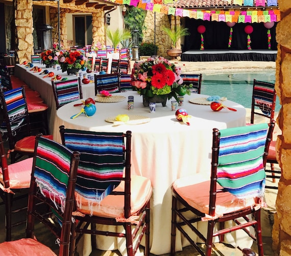 12 Small Mexican Colorful Serapes Runner For Chair Cover