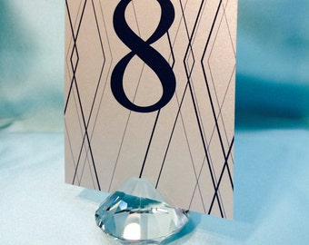 "10 pcs of 2""x2"" Clear Crystal Diamond TABLE NUMBER Holder, Wedding Favor, Place Card, menu and Business Card Holders, Wedding Centerpieces"