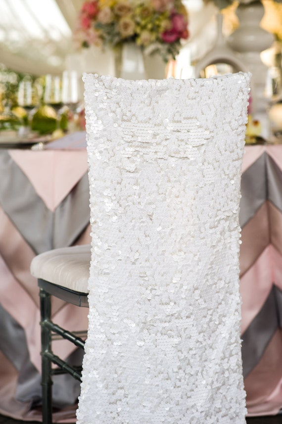 Stupendous Simple White Matte Sequins Payette Chiavari Chair Covers For The Bride And Groom Quinceanera Or Special Event Andrewgaddart Wooden Chair Designs For Living Room Andrewgaddartcom