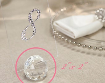 "2""x2"" Clear Crystal Fauceted Ball Place Card Holder, Table Numbers Holder and Wedding Favor"