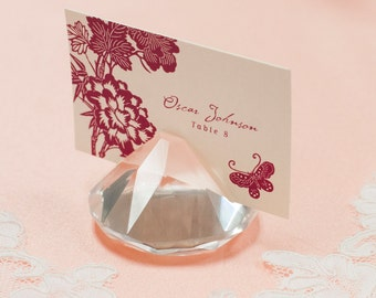 Clear Crystal Place Card Holders, Wedding Favor/ Wedding Decoration/ Table Numbers Holder/ Business Card Holder/ Photo holder/ Gift/ Wedding