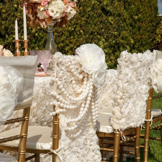 Ivory Rose Garden Pearls Chiavari Chair Cover Wedding Fancy Decorationschair
