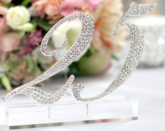 1-17Silver Rhinestone Table Numbers for Wedding, Birthday, or any Special Events