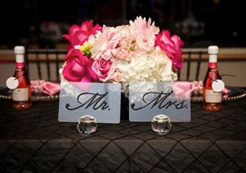 e6864ea0bab976 Mr. and Mrs. Table Display with Clear Swarovski Crystals for