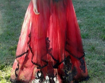 Mardi Gras Black and red skeleton day of the dead halloween costume undead bride size 4-7 gothic see through avant garde halter