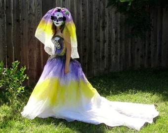 Purple and yollow skeleton day of the dead costume with matching veil / bride size 0-3 small XS
