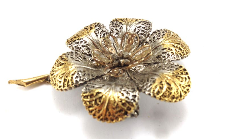 Bronzed Flower Brooch Signed Art Unusual Design Style Cool Piece !