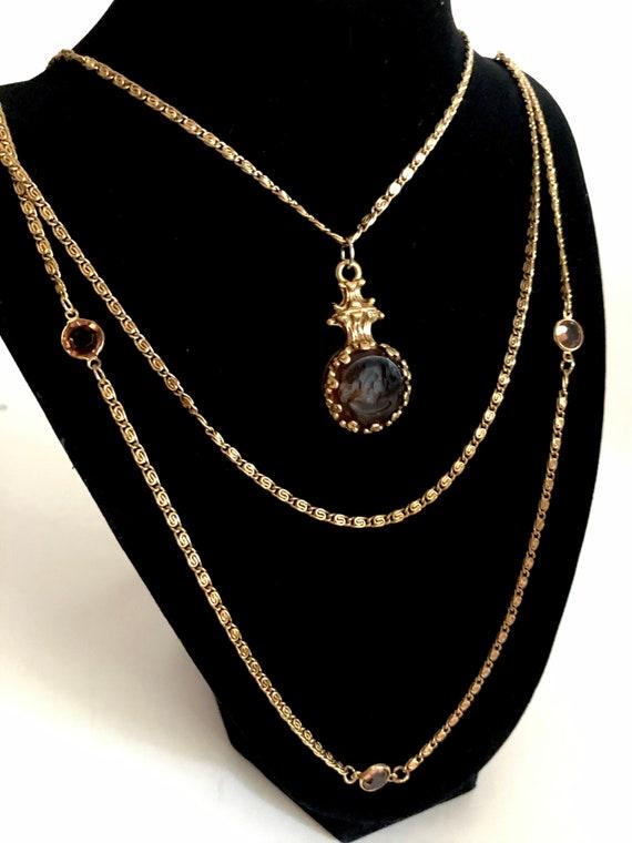 Goldette Intaglio Cameo Multi Chain Necklace