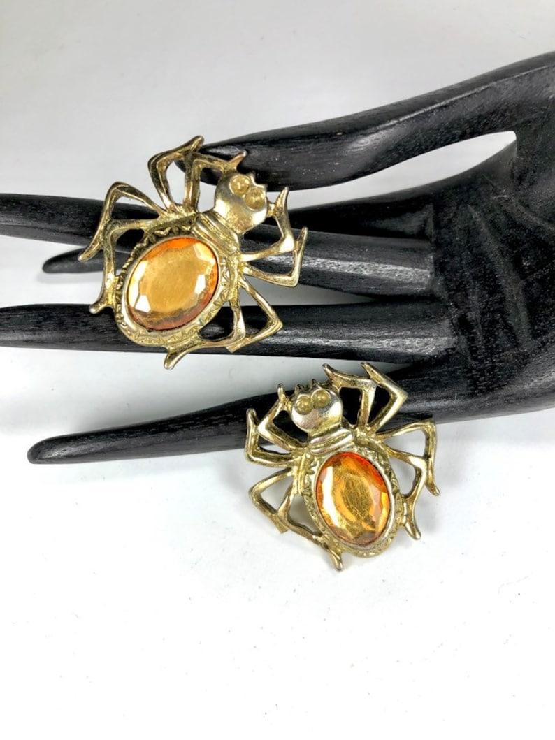 Vintage Shoe Clips Rhinestone Spiders Brass Metals Versatile Design