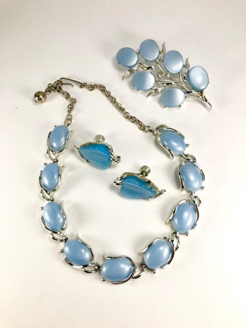 Powder Blue Moonglow Jewelry Set Necklace Brooch Earrings Ring Vintage Parure