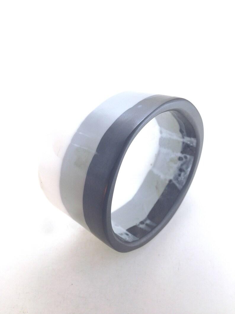 Vintage Resins Bracelet Three Stripes White Grey Black Layered Resins Wide Side Asymmetrical Design Odd Shaped Beauty